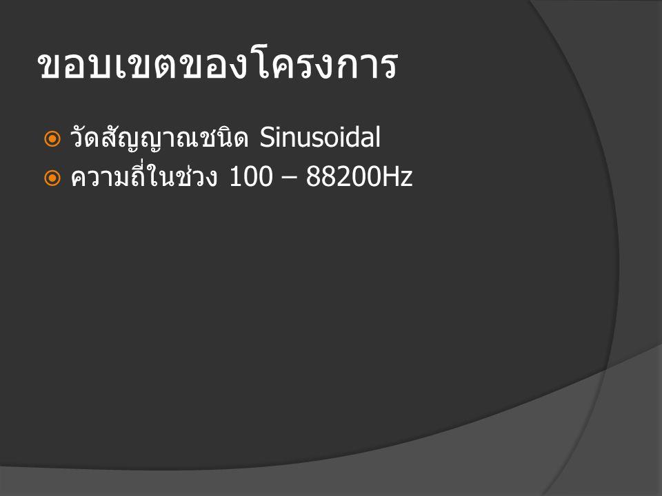 ขอบเขตของโครงการ  วัดสัญญาณชนิด Sinusoidal  ความถี่ในช่วง 100 – 88200Hz