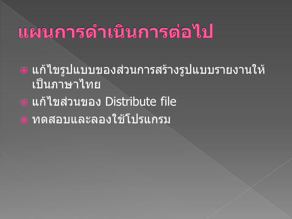  แก้ไขรูปแบบของส่วนการสร้างรูปแบบรายงานให้ เป็นภาษาไทย  แก้ไขส่วนของ Distribute file  ทดสอบและลองใช้โปรแกรม