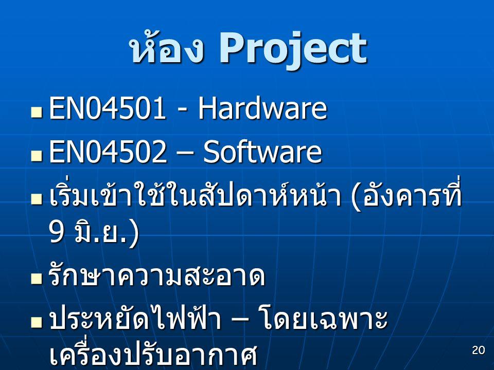 20 ห้อง Project  EN04501 - Hardware  EN04502 – Software  เริ่มเข้าใช้ในสัปดาห์หน้า ( อังคารที่ 9 มิ. ย.)  รักษาความสะอาด  ประหยัดไฟฟ้า – โดยเฉพาะ