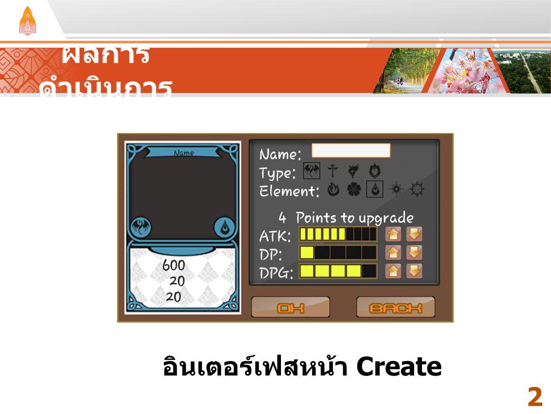 Your Text Here ผลการ ดำเนินการ 2121 อินเตอร์เฟสหน้า Create