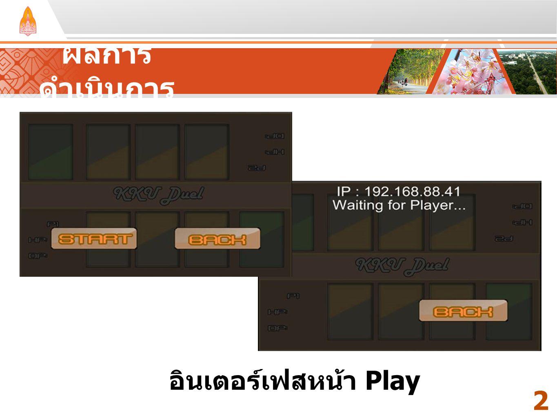 Your Text Here ผลการ ดำเนินการ 2323 อินเตอร์เฟสหน้า Play