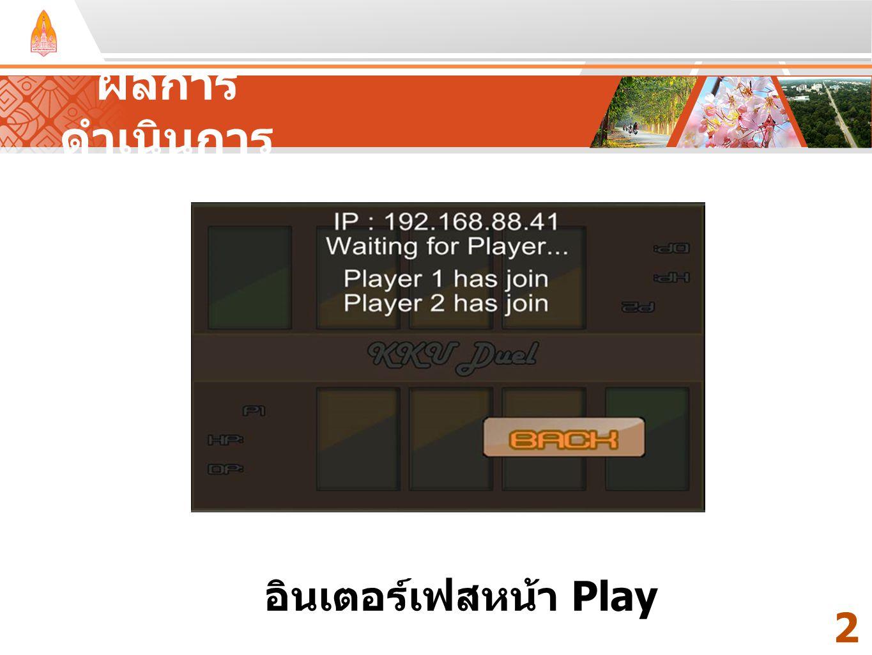 Your Text Here ผลการ ดำเนินการ 2424 อินเตอร์เฟสหน้า Play