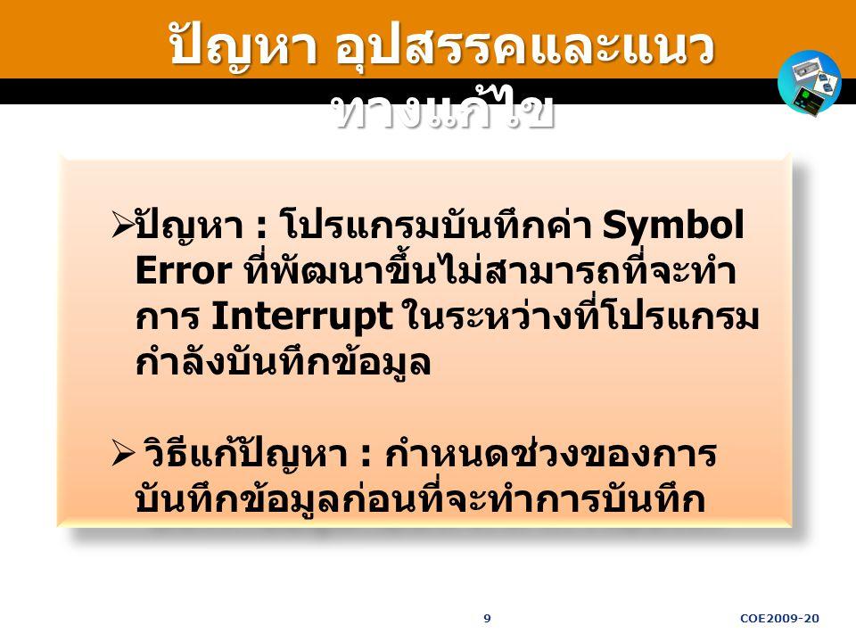 ปัญหา อุปสรรคและแนว ทางแก้ไข  ปัญหา : โปรแกรมบันทึกค่า Symbol Error ที่พัฒนาขึ้นไม่สามารถที่จะทำ การ Interrupt ในระหว่างที่โปรแกรม กำลังบันทึกข้อมูล  วิธีแก้ปัญหา : กำหนดช่วงของการ บันทึกข้อมูลก่อนที่จะทำการบันทึก  ปัญหา : โปรแกรมบันทึกค่า Symbol Error ที่พัฒนาขึ้นไม่สามารถที่จะทำ การ Interrupt ในระหว่างที่โปรแกรม กำลังบันทึกข้อมูล  วิธีแก้ปัญหา : กำหนดช่วงของการ บันทึกข้อมูลก่อนที่จะทำการบันทึก 9COE2009-20