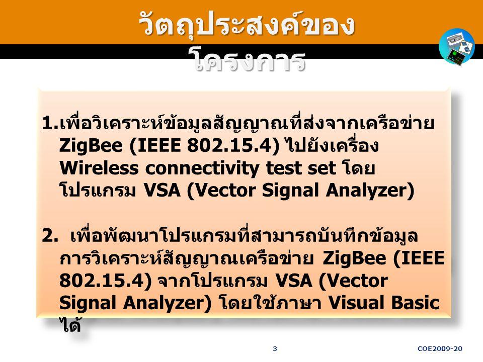 วัตถุประสงค์ของ โครงการ 1. เพื่อวิเคราะห์ข้อมูลสัญญาณที่ส่งจากเครือข่าย ZigBee (IEEE 802.15.4) ไปยังเครื่อง Wireless connectivity test set โดย โปรแกรม