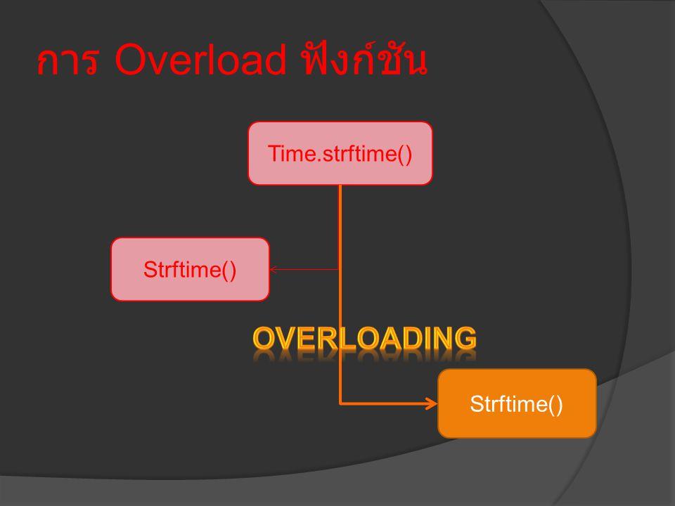 การ Overload ฟังก์ชัน Time.strftime() Strftime()