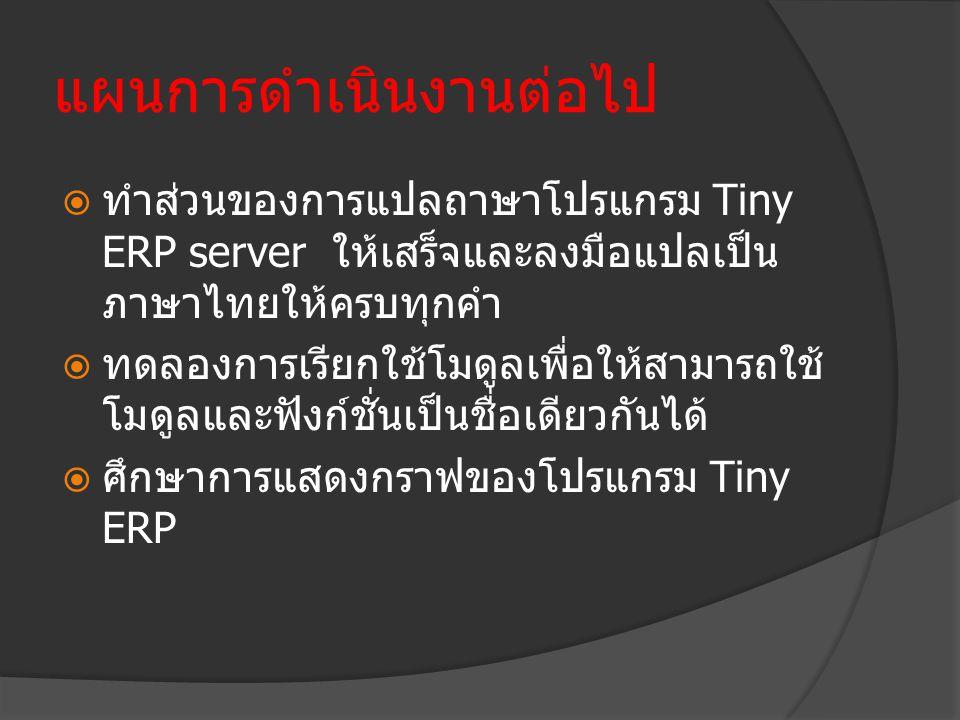 แผนการดำเนินงานต่อไป  ทำส่วนของการแปลถาษาโปรแกรม Tiny ERP server ให้เสร็จและลงมือแปลเป็น ภาษาไทยให้ครบทุกคำ  ทดลองการเรียกใช้โมดูลเพื่อให้สามารถใช้