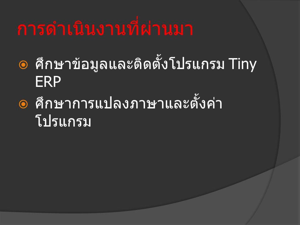 การดำเนินงานที่ผ่านมา  ศึกษาข้อมูลและติดตั้งโปรแกรม Tiny ERP  ศึกษาการแปลงภาษาและตั้งค่า โปรแกรม