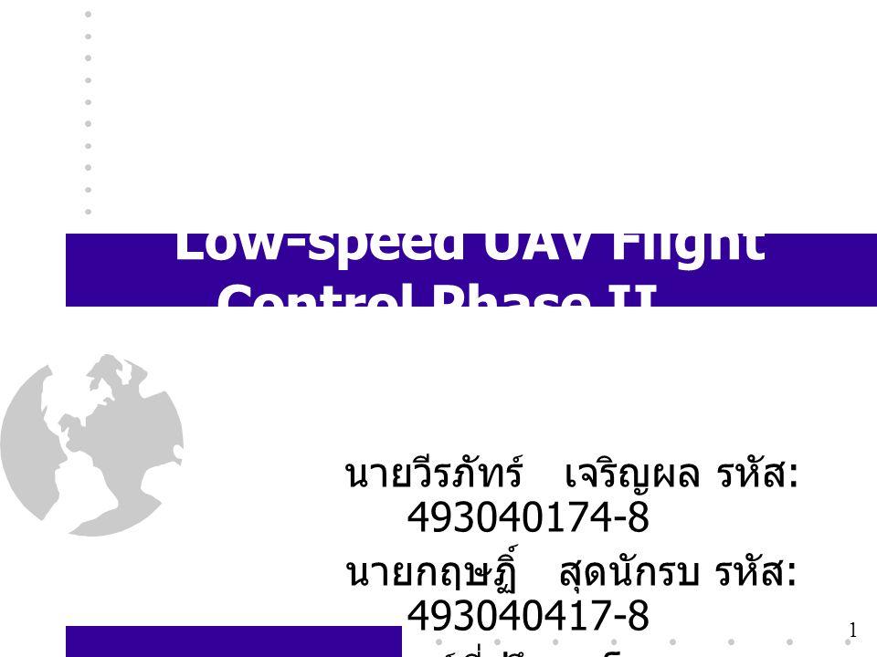 1 Low-speed UAV Flight Control Phase II นายวีรภัทร์ เจริญผล รหัส : 493040174-8 นายกฤษฏิ์ สุดนักรบ รหัส : 493040417-8 อาจารย์ที่ปรึกษาโครงการ ดร. วาธิส