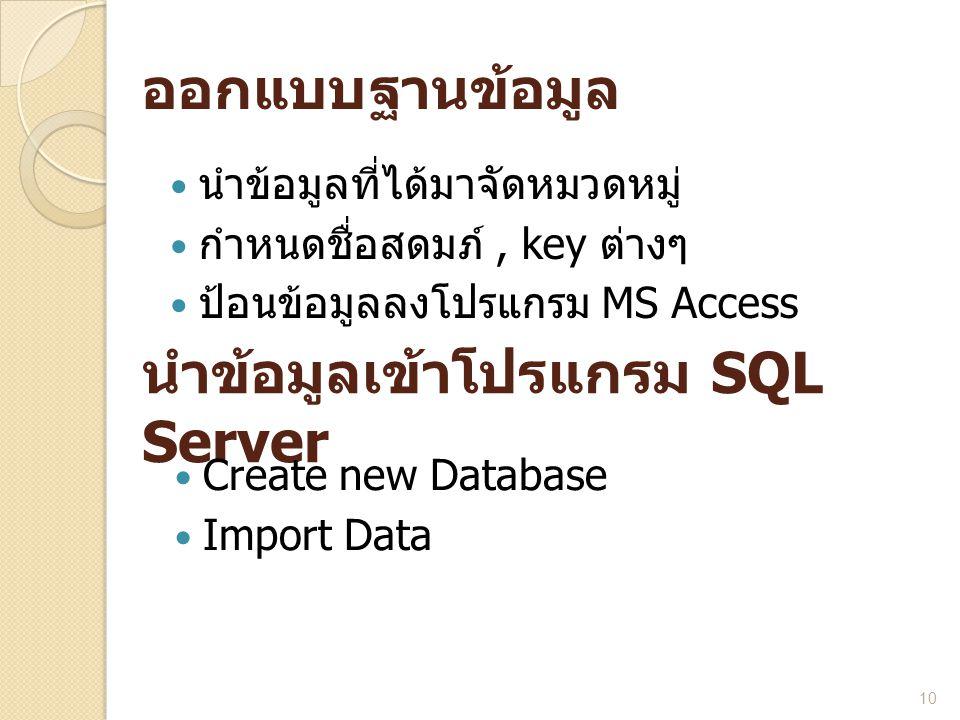 ออกแบบฐานข้อมูล  นำข้อมูลที่ได้มาจัดหมวดหมู่  กำหนดชื่อสดมภ์, key ต่างๆ  ป้อนข้อมูลลงโปรแกรม MS Access 10 นำข้อมูลเข้าโปรแกรม SQL Server  Create n
