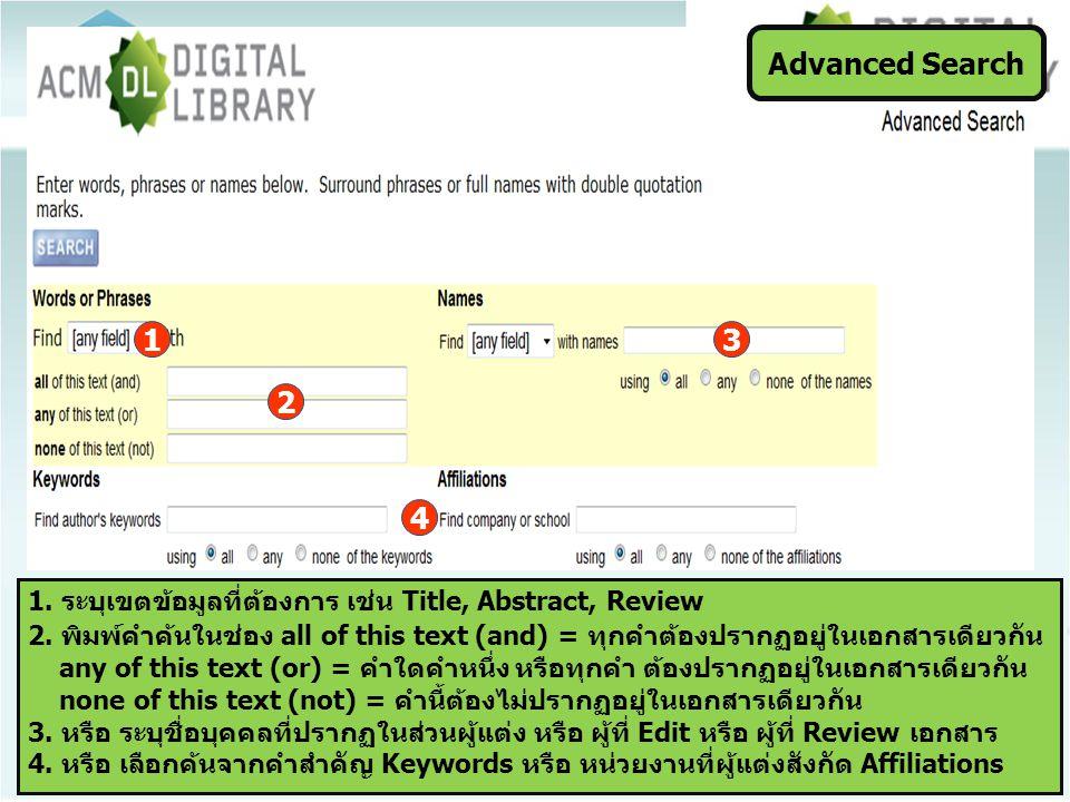 Advanced Search 1. ระบุเขตข้อมูลที่ต้องการ เช่น Title, Abstract, Review 2. พิมพ์คำค้นในช่อง all of this text (and) = ทุกคำต้องปรากฏอยู่ในเอกสารเดียวกั