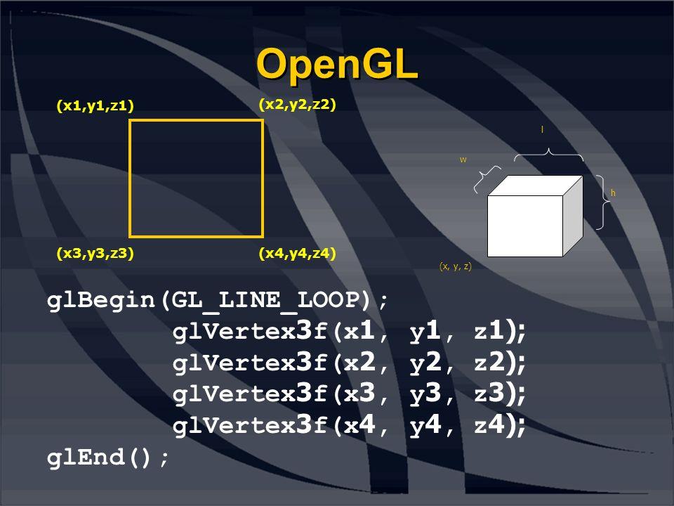 OpenGL glBegin(GL_LINE_LOOP); glVertex3f(x1, y1, z1); glVertex3f(x2, y2, z2); glVertex3f(x3, y3, z3); glVertex3f(x4, y4, z4); glEnd(); (x1,y1,z1) (x2,y2,z2) (x3,y3,z3)(x4,y4,z4) (x, y, z) w l h