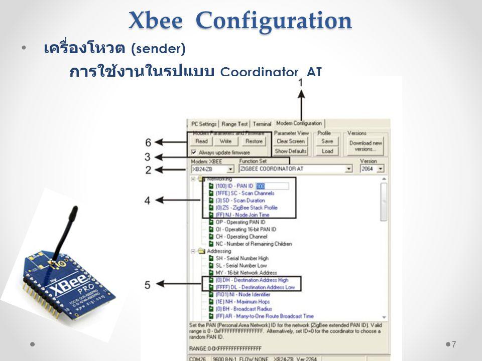 Xbee Configuration Xbee Configuration • เครื่องโหวต (sender) การใช้งานในรูปแบบ Coordinator AT 7