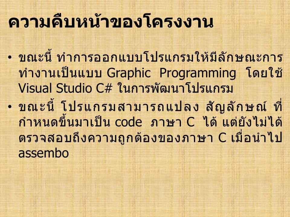 ความคืบหน้าของโครงงาน • ขณะนี้ ทำการออกแบบโปรแกรมให้มีลักษณะการ ทำงานเป็นแบบ Graphic Programming โดยใช้ Visual Studio C# ในการพัฒนาโปรแกรม • ขณะนี้ โปรแกรมสามารถแปลง สัญลักษณ์ ที่ กำหนดขึ้นมาเป็น code ภาษา C ได้ แต่ยังไม่ได้ ตรวจสอบถึงความถูกต้องของภาษา C เมื่อนำไป assembo