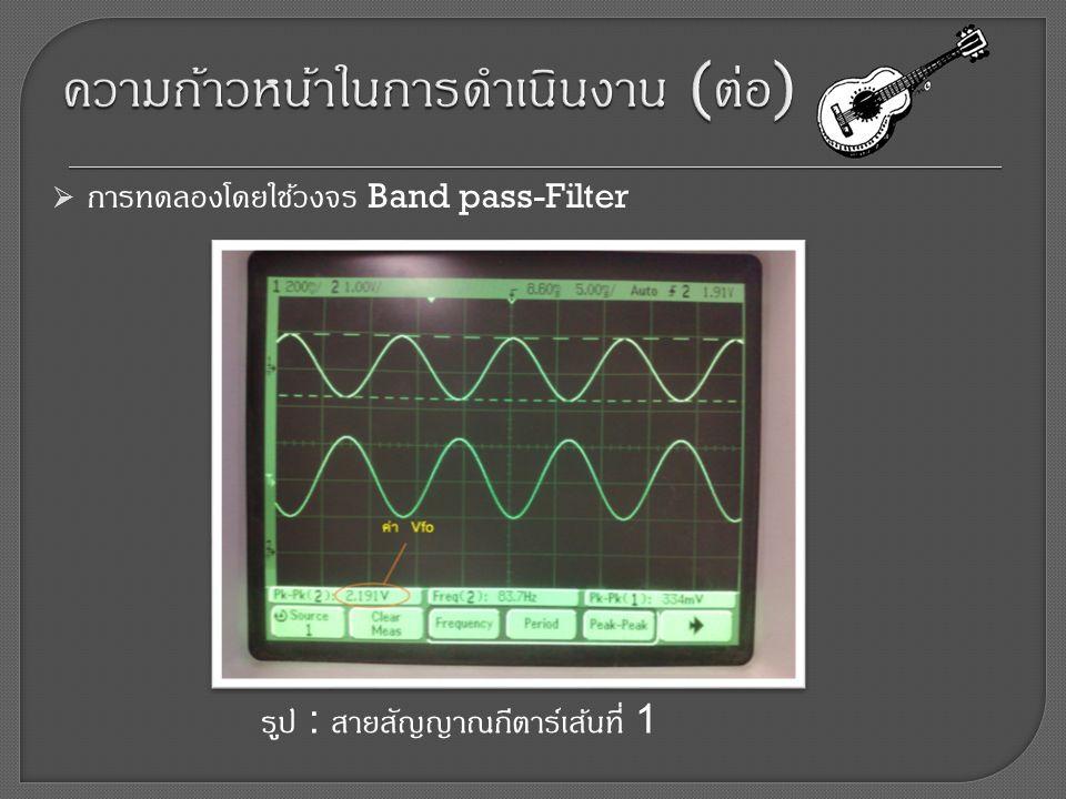  การทดลองโดยใช้วงจร Band pass-Filter รูป : สายสัญญาณกีตาร์เส้นที่ 1