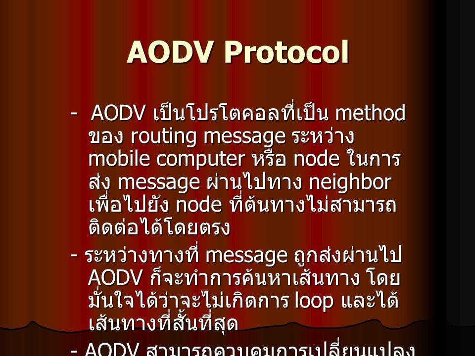 AODV Protocol - AODV เป็นโปรโตคอลที่เป็น method ของ routing message ระหว่าง mobile computer หรือ node ในการ ส่ง message ผ่านไปทาง neighbor เพื่อไปยัง