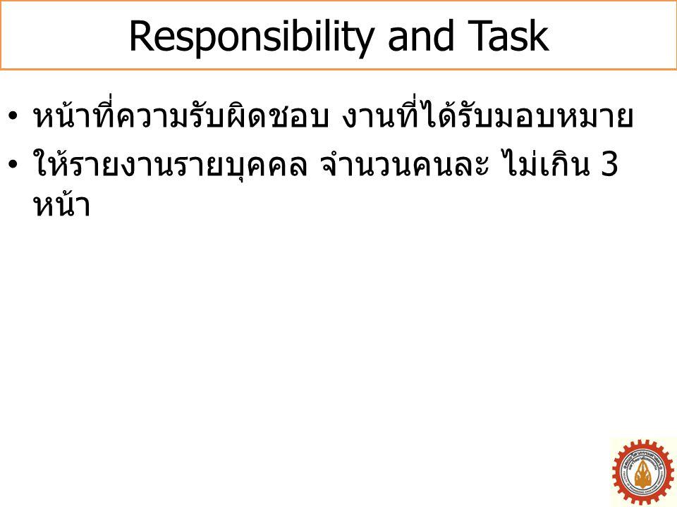 Responsibility and Task • หน้าที่ความรับผิดชอบ งานที่ได้รับมอบหมาย • ให้รายงานรายบุคคล จำนวนคนละ ไม่เกิน 3 หน้า