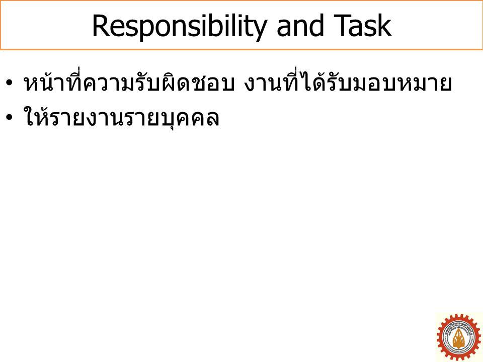 Responsibility and Task • หน้าที่ความรับผิดชอบ งานที่ได้รับมอบหมาย • ให้รายงานรายบุคคล