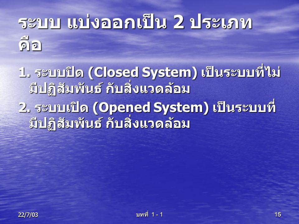 22/7/03 บทที่ 1 - 1 15 ระบบ แบ่งออกเป็น 2 ประเภท คือ 1. ระบบปิด (Closed System) เป็นระบบที่ไม่ มีปฏิสัมพันธ์ กับสิ่งแวดล้อม 2. ระบบเปิด (Opened System