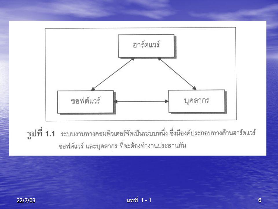22/7/03 บทที่ 1 - 1 7 ภาพรวมของระบบ ระบบ จะถูกรวบรวมด้วยขอบเขต (Boundary) โดยส่วนที่อยู่ในขอบเขตของ ระบบ จะประกอบไปด้วย ระบบย่อยต่างๆ ซึ่ง ระบบย่อยเหล่านี้ ก็คือ องค์ประกอบของระบบ ระบบย่อยต่างๆ ภายในระบบ ถือเป็นตัวแทน ของระบบโดยรวม