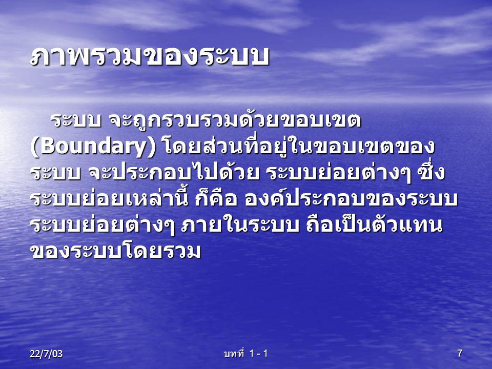 22/7/03 บทที่ 1 - 1 8