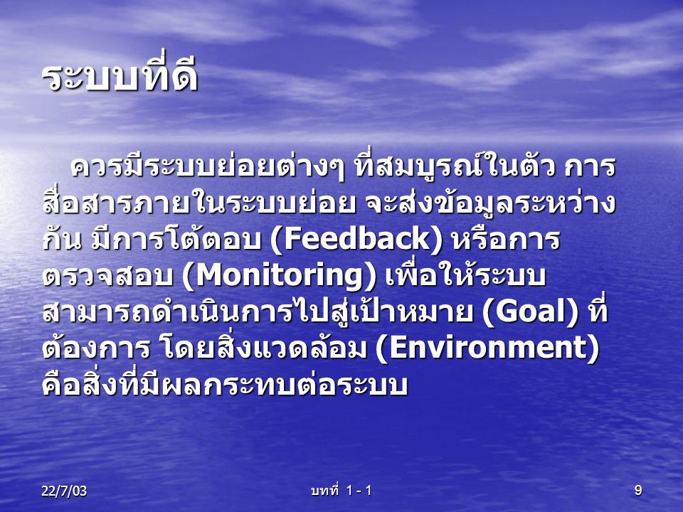 22/7/03 บทที่ 1 - 1 9 ระบบที่ดี ควรมีระบบย่อยต่างๆ ที่สมบูรณ์ในตัว การ สื่อสารภายในระบบย่อย จะส่งข้อมูลระหว่าง กัน มีการโต้ตอบ (Feedback) หรือการ ตรวจ