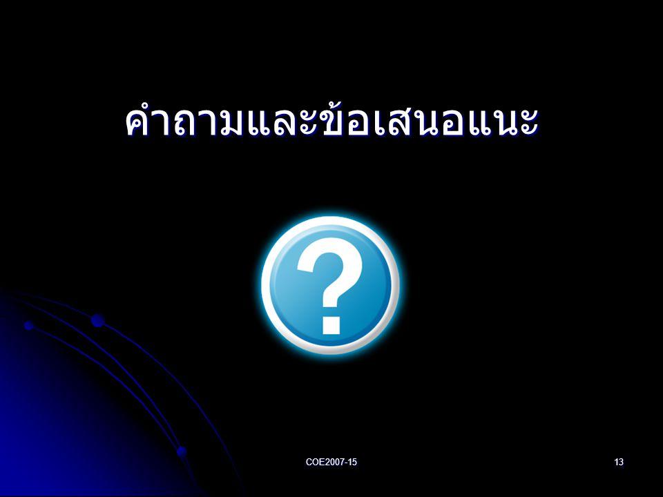 COE2007-1513 คำถามและข้อเสนอแนะ
