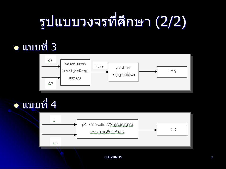 COE2007-159 รูปแบบวงจรที่ศึกษา (2/2)  แบบที่ 3  แบบที่ 4