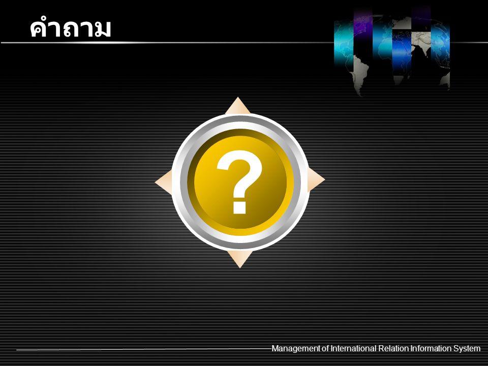 Management of International Relation Information System คำถาม ?