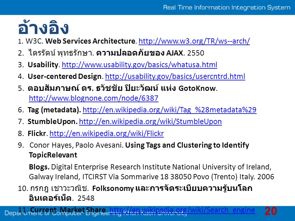 อ้างอิง 1. W3C. Web Services Architecture. http://www.w3.org/TR/ws--arch/http://www.w3.org/TR/ws--arch/ 2. ไตรรัตน์ พุทธรักษา. ความปลอดภัยของ AJAX. 25
