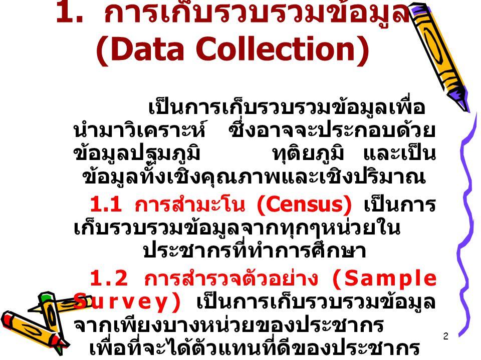 13 3. การนำเสนอข้อมูล (Data Presentation)  การนำเสนอข้อมูลในรูปกราฟ  ฮิสโตแกรม (Histogram)