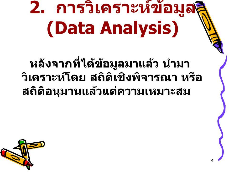 4 2. การวิเคราะห์ข้อมูล (Data Analysis) หลังจากที่ได้ข้อมูลมาแล้ว นำมา วิเคราะห์โดย สถิติเชิงพิจารณา หรือ สถิติอนุมานแล้วแต่ความเหมาะสม