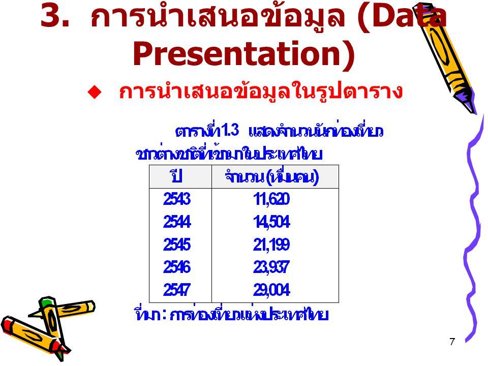 7 3. การนำเสนอข้อมูล (Data Presentation)  การนำเสนอข้อมูลในรูปตาราง