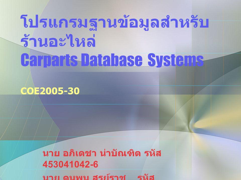 โปรแกรมฐานข้อมูลสำหรับ ร้านอะไหล่ Carparts Database Systems COE2005-30 นาย อภิเดชา น่าบัณฑิต รหัส 453041042-6 นาย ดนุพน สูรย์ราช รหัส 453040701-7