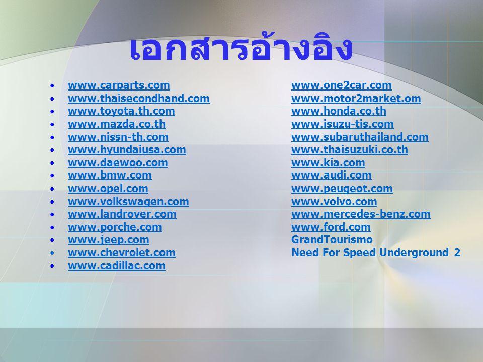 เอกสารอ้างอิง •www.carparts.comwww.one2car.comwww.carparts.comwww.one2car.com •www.thaisecondhand.comwww.motor2market.omwww.thaisecondhand.comwww.moto