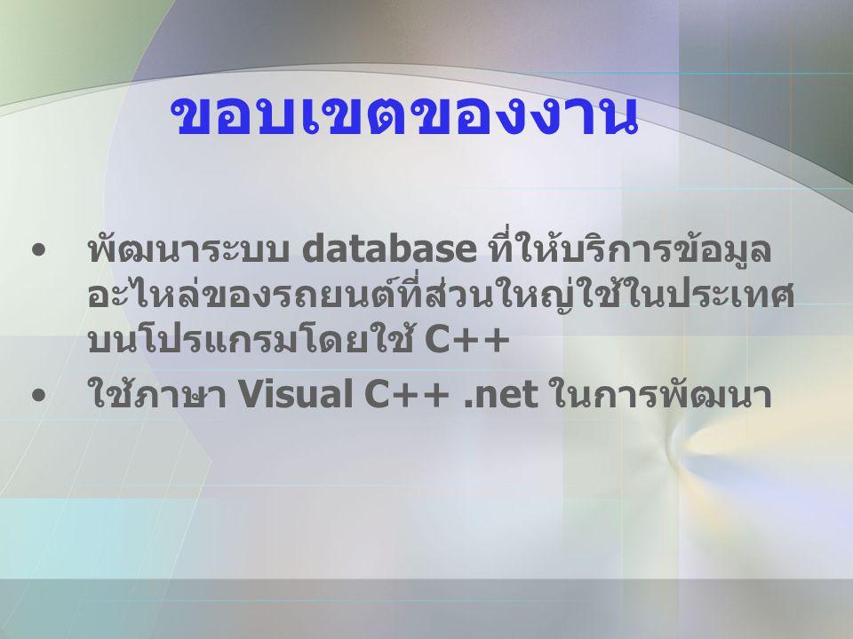 ขอบเขตของงาน • พัฒนาระบบ database ที่ให้บริการข้อมูล อะไหล่ของรถยนต์ที่ส่วนใหญ่ใช้ในประเทศ บนโปรแกรมโดยใช้ C++ • ใช้ภาษา Visual C++.net ในการพัฒนา