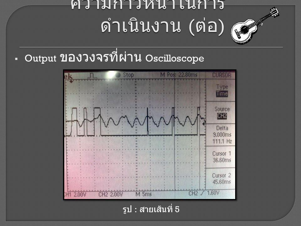  Output ของวงจรที่ผ่าน Oscilloscope รูป : สายเส้นที่ 5