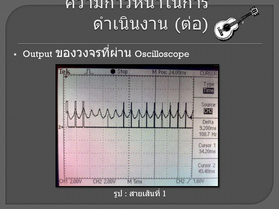  Output ของวงจรที่ผ่าน Oscilloscope รูป : สายเส้นที่ 1