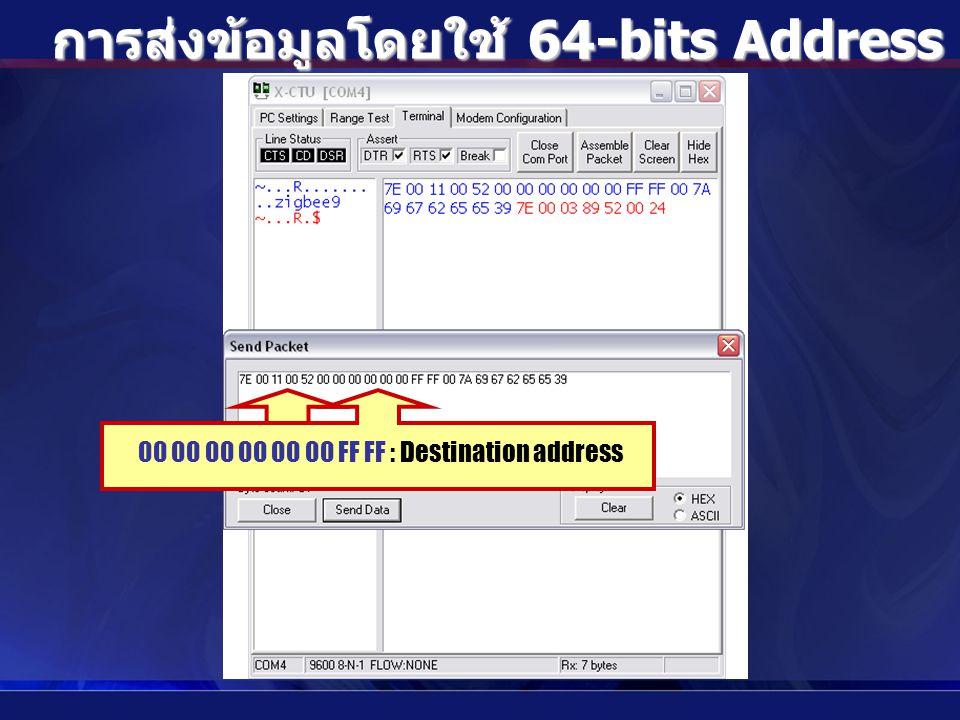 การส่งข้อมูลโดยใช้ 64-bits Address แบบ Broadcast 00 : API identifier00 00 00 00 00 00 FF FF : Destination address