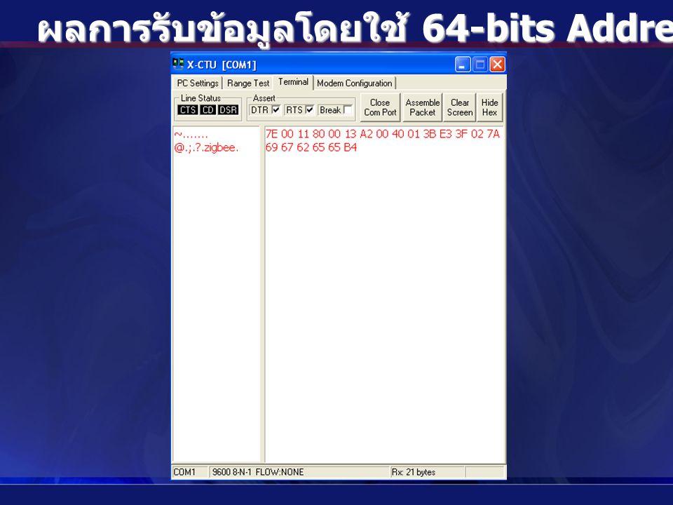 ผลการรับข้อมูลโดยใช้ 64-bits Address แบบ Broadcast