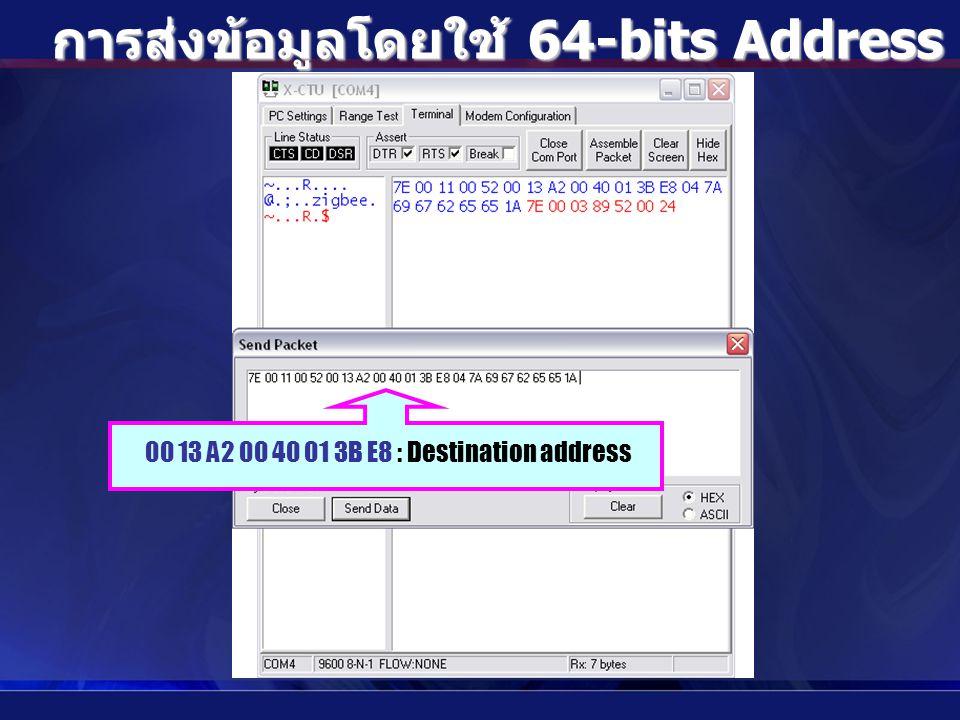 การส่งข้อมูลโดยใช้ 64-bits Address แบบ Indirect 00 13 A2 00 40 01 3B E8 : Destination address