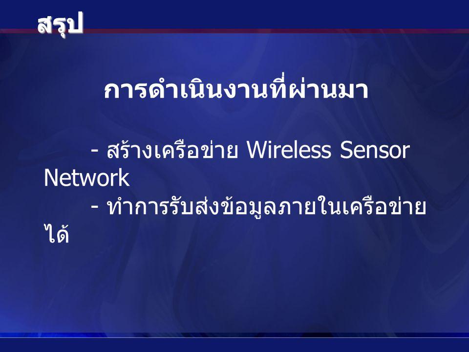 สรุป การดำเนินงานที่ผ่านมา - สร้างเครือข่าย Wireless Sensor Network - ทำการรับส่งข้อมูลภายในเครือข่าย ได้