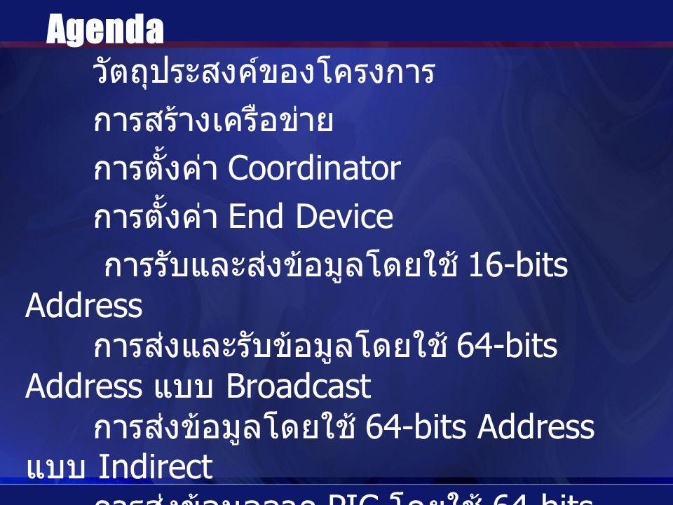 วัตถุประสงค์ของโครงการ การสร้างเครือข่าย การตั้งค่า Coordinator การตั้งค่า End Device การรับและส่งข้อมูลโดยใช้ 16-bits Address การส่งและรับข้อมูลโดยใช้ 64-bits Address แบบ Broadcast การส่งข้อมูลโดยใช้ 64-bits Address แบบ Indirect การส่งข้อมูลจาก PIC โดยใช้ 64-bits Address แบบ Indirect Sleep Mode สรุป Agenda