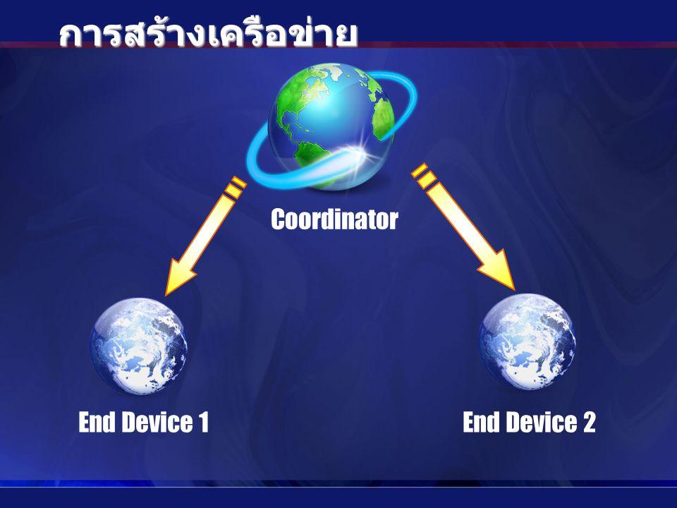 Coordinator End Device 1End Device 2 การสร้างเครือข่าย