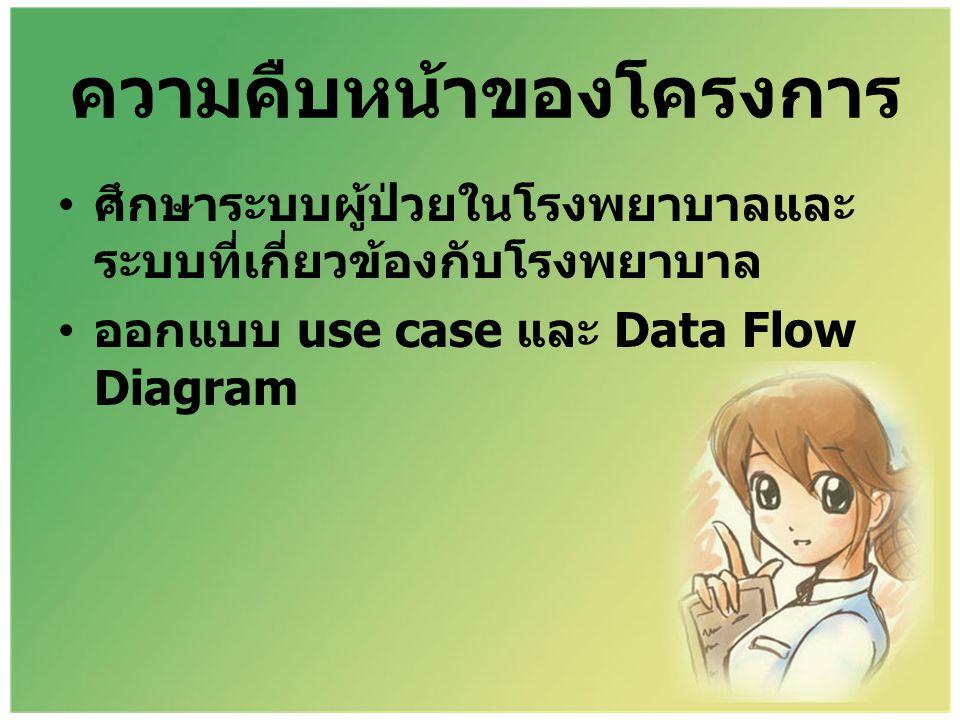 ความคืบหน้าของโครงการ • ศึกษาระบบผู้ป่วยในโรงพยาบาลและ ระบบที่เกี่ยวข้องกับโรงพยาบาล • ออกแบบ use case และ Data Flow Diagram