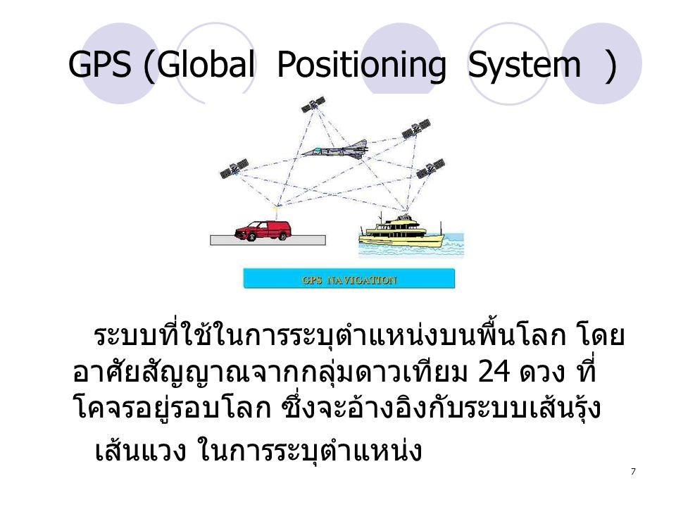 7 GPS (Global Positioning System ) ระบบที่ใช้ในการระบุตำแหน่งบนพื้นโลก โดย อาศัยสัญญาณจากกลุ่มดาวเทียม 24 ดวง ที่ โคจรอยู่รอบโลก ซึ่งจะอ้างอิงกับระบบเ