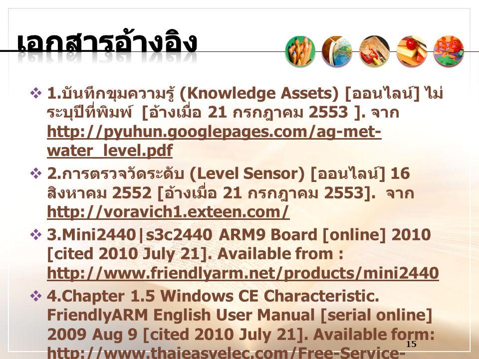  1. บันทึกขุมความรู้ (Knowledge Assets) [ ออนไลน์ ] ไม่ ระบุปีที่พิมพ์ [ อ้างเมื่อ 21 กรกฎาคม 2553 ]. จาก http://pyuhun.googlepages.com/ag-met- water