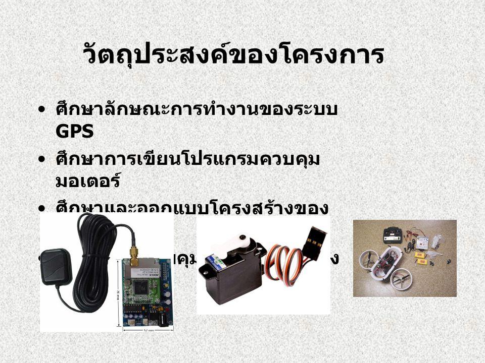 วัตถุประสงค์ของโครงการ • ศึกษาลักษณะการทำงานของระบบ GPS • ศึกษาการเขียนโปรแกรมควบคุม มอเตอร์ • ศึกษาและออกแบบโครงสร้างของ แบบจำลอง • สร้างระบบควบคุมกา