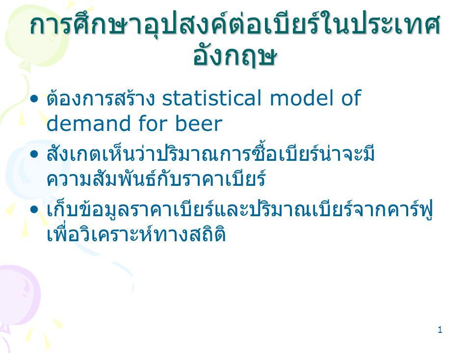 2 ตัวแบบอุปสงค์และอุปทาน P = f(Q) P = ราคาเบียร์ Q = ปริมาณการซื้อขายเบียร์ Pt = a + bQt b < 0 Pt = c + dQt d > 0 ผลการประมาณตัวแบบ Pt = 15 + 0.89Qt t = 1,2………T อุปสงค์หรืออุปทาน ?