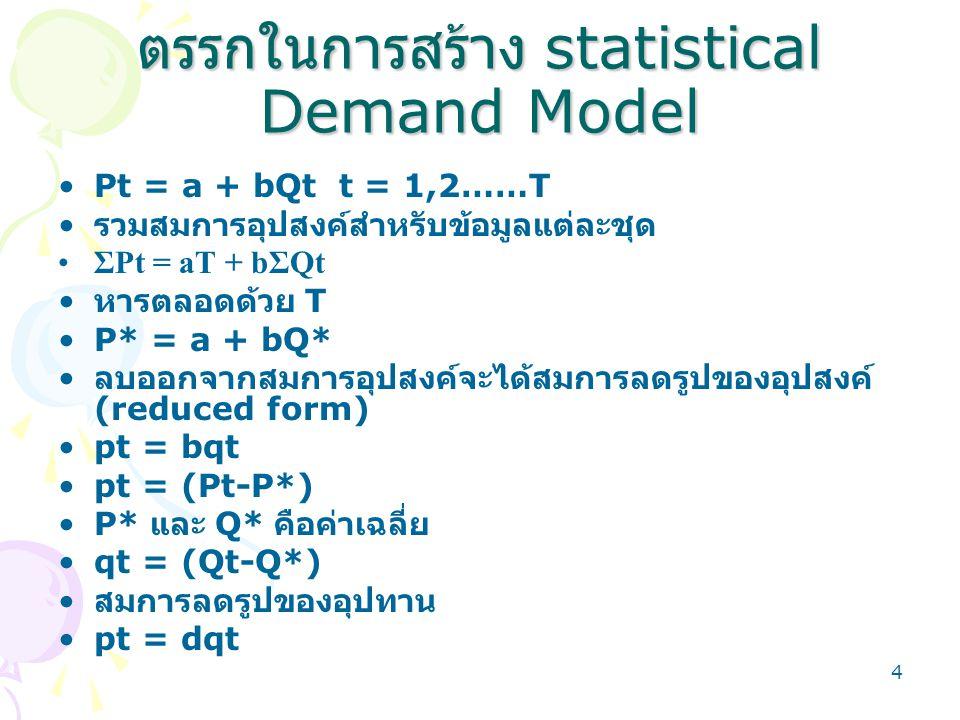 5 การบ่งชี้อุปสงค์และอุปทาน • เงื่อนไขดุลยภาพ –qt (d - b) = 0 • ไม่สามารถถอดค่า b และ d ได้ • เป็นจริงสำหรับทุกค่าที่ b=d • สมการอุปสงค์และอุปทานไม่เป็นอิสระต่อกัน • การที่ไม่สามารถถอดค่า b หรือ d ได้แสดงว่า ตัวแบบ P = f(Q) ไม่สามารถใช้จำลองอุปสงค์หรือ อุปทานได้ ถ้าจำลองได้ตัวแบบจะต้องอยู่ในรูปแบบที่ สามารถถอดค่า b และ d ได้