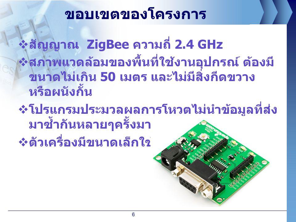ขอบเขตของโครงการ  สัญญาณ ZigBee ความถี่ 2.4 GHz  สภาพแวดล้อมของพื้นที่ใช้งานอุปกรณ์ ต้องมี ขนาดไม่เกิน 50 เมตร และไม่มีสิ่งกีดขวาง หรือผนังกั้น  โป